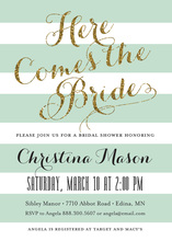 Mint Stripes Gold Glitter Here Comes the Bride Invites