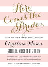 Pink Stripes Gold Glitter Here Comes the Bride Invites