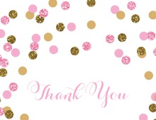 Pink Gold Glitter Confetti Thank You Folded