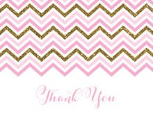 Pink Gold Glitter Chevrons Thank You Cards