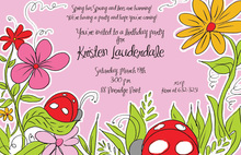 Pink Garden Ladybugs Birthday Party Invitations