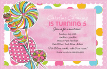 Sweets Over Pink Modern Birthday Party Invitations
