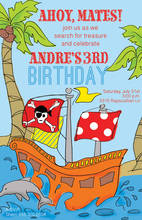 Pirate Ship Tropics Birthday Party Invitations
