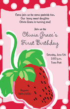 Strawberry Shortcake Polka Dots Birthday Invitations