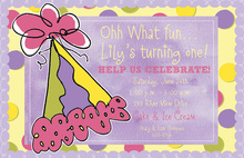 Party Hat Over Purple Birthday Party Invitations