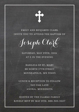 Simple Border Cross Chalkboard Religious Invitations