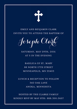 Simple Border Cross Navy Religious Invitations