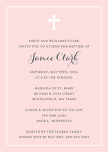 Simple Border Cross Pink Religious Invitations