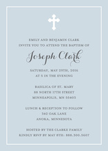 Simple Border Cross Slate Religious Invitations