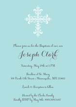 Elegant Cross Aqua Blue Religious Invitations