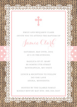 Rustic Burlap Pink Cross Baptism Invitations