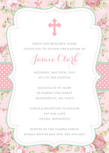 Shabby Chic Watercolor Roses Christening Invitations