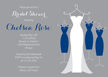 Navy Bridesmaids Dresses Bridal Shower Invitations