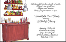 Traditional Wood Bar Party Shower Invitations