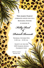 Leopard Palms Border Bridal Shower Invitations