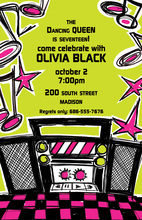 Hot Pink Boom Box Jams Birthday Party Invitations