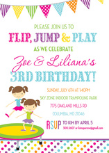 Trampoline Twin Girls Bright Stripes Invitations