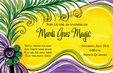Green Purple Feathers Mardi Gras Invitations