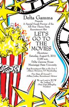 Popcorn Movie Time Invitations