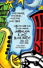 Jazz City Music Party Invitations