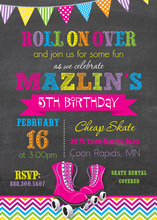 Bright Chevrons Roller Skates Chalkboard Invitations