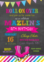 Bright Stripes Roller Skates Chalkboard Invitations
