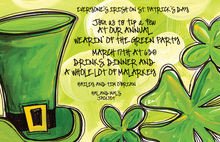 St. Patricks Day Top Hat Clovers Invitation