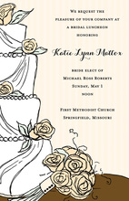Simplified Wedding Cake Floral Decoration Invitations