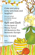 Lemons Oranges Garden Illustration Party Invitations