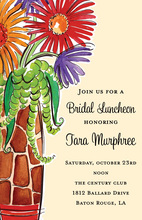 Painted Giraffe Vase Flowers Bridal Luncheon Invitation