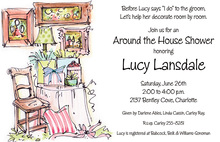 Around The House Illustration Bridal Shower Invitations