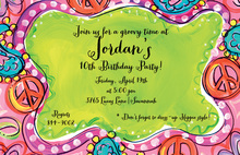 Peace and Paisley Groovy Frame Birthday Invitations