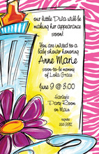 Pink Zebra Frame Baby Shower Invitation