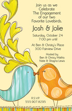 Illustrating Cutey Love Birds Patterns Invitation
