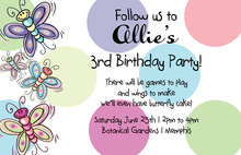Multicolor Butterflies In Polka Dots Theme Invitations