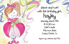 Dance and Twirl Ballerina Girl Birthday Invitations