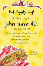 Hot Diggity Dog Birthday Party Invitations