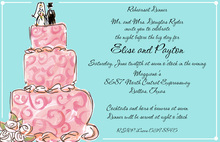 Pink Swirl Wedding Cake Aqua Couple Wedding Invites