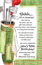 Green Plaid Golf Border Invitation