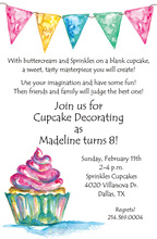 Colorful Bunting Cupcake Birthday Party Invitations