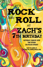 Wild Rock and Roll Birthday Party Invitations