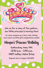 Classy Princess Crown In Pink Birthday Invitations