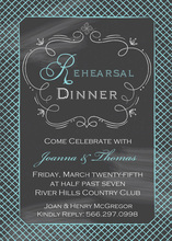 Turquoise Rehearsal Crosshatch Chalkboard Invitation