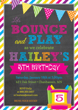 Bright Stripes Bounce House Chalkboard Invitations