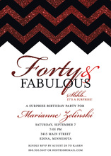 Rich Red Glitter Chevron Forty Fabulous Invitations