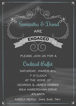 Turquoise Engagement Crosshatch Chalkboard Invitation