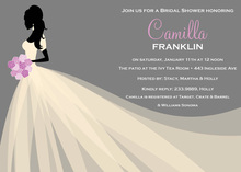 Bride Silhouette Pink Flowers Invitation