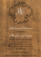 Framed Monogram on Wood Invitation