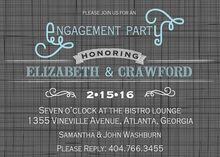 Grey Crosshatch Aqua Accents Invitation