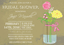 Rustic Bridal Mason Jar Flowers Invitation